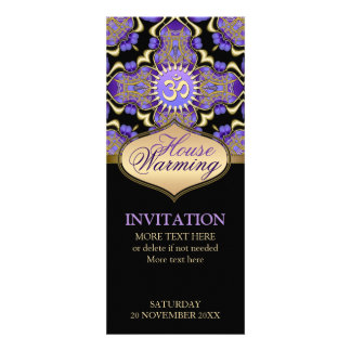House Warming Om Purple Gold Party Invitation