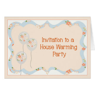 House Warming Party Invitation Balloons & Flowers