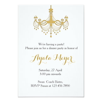 House warming party Invitation Gold Chandelier