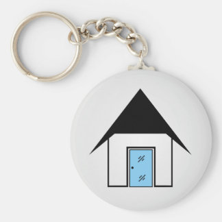 House with glass door keychain