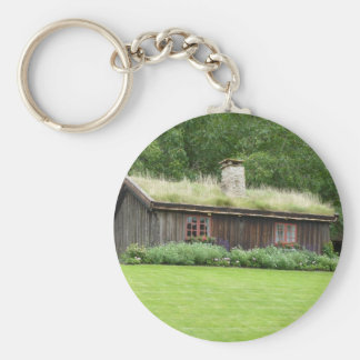 House with grass roof basic round button keychain