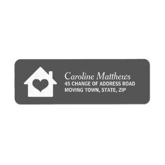 House with heart on dark gray background return address labels