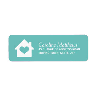 House with heart on dark wood return address labels