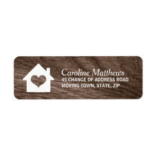 House with heart on elegant wood return address label