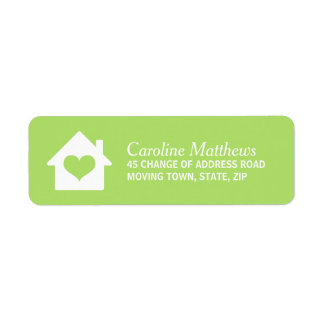 House with heart on lmd green background custom return address labels