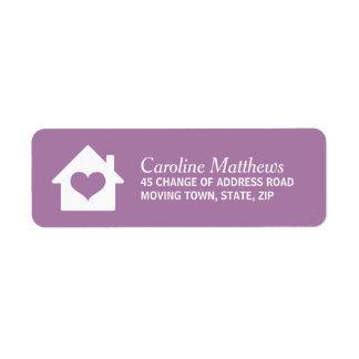 House with heart on purple background custom return address label