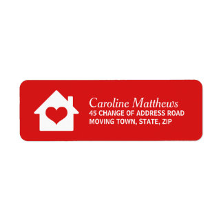 House with heart on red background custom return address label