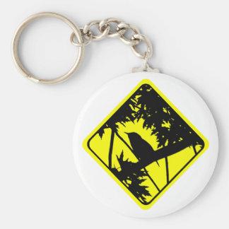 House Wren Bird Silhouette Caution Crossing Sign Basic Round Button Keychain