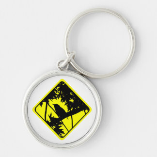 House Wren Bird Silhouette Caution Crossing Sign Key Chains