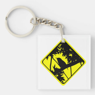 House Wren Bird Silhouette Caution Crossing Sign Keychain