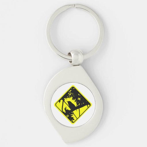House Wren Bird Silhouette Caution Crossing Sign Keychains