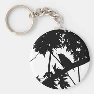 House Wren Silhouette Love Bird Watching Basic Round Button Keychain