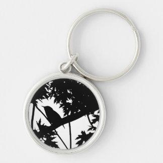 House Wren Silhouette Love Bird Watching Silver-Colored Round Keychain