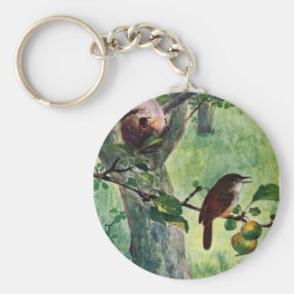 House Wrens Nesting in an Apple Tree Key Chain