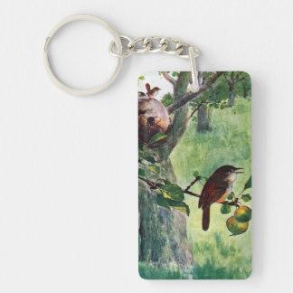 House Wrens Nesting in an Apple Tree Single-Sided Rectangular Acrylic Keychain