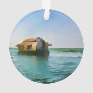 Houseboat in Kerala in saltwater lagoon Ornament