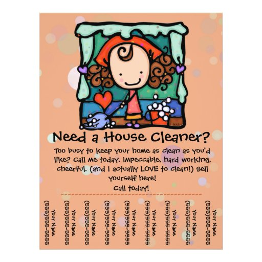 Housecleaning. House Cleaner. Custom promotional Flyer Design