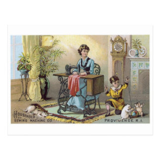 Household Sewing Machine Boy with Cats Postcard