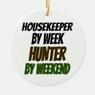 Housekeeper Loves Hunting Ceramic Ornament