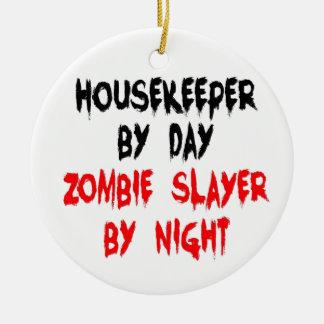 Housekeeper Zombie Joke Round Ceramic Ornament