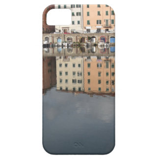 Houses and boats are reflected in the water case for the iPhone 5