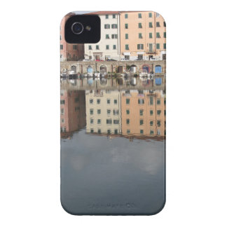 Houses and boats are reflected in the water iPhone 4 case