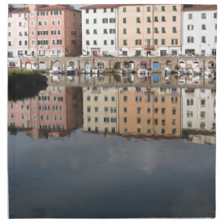 Houses and boats are reflected in the water napkin