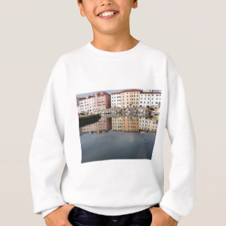 Houses and boats are reflected in the water sweatshirt