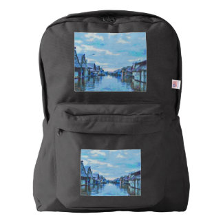 Houses and canal backpack