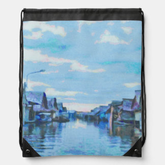 Houses and canal drawstring bag