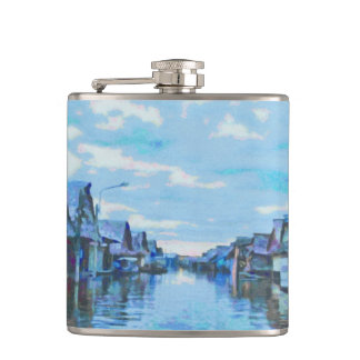 Houses and canal hip flask