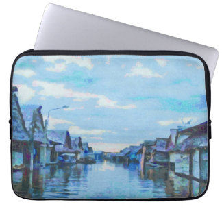 Houses and canal laptop sleeve