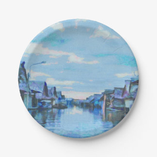 Houses and canal paper plate