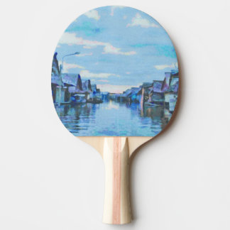 Houses and canal ping pong paddle