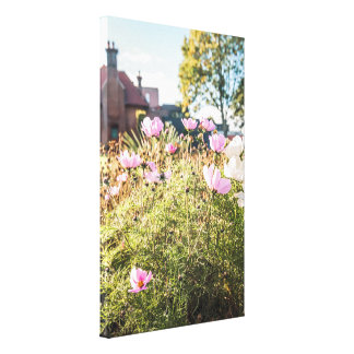 Houses and flowers canvas print