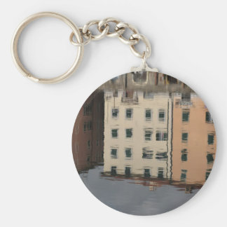 Houses are reflected in the tranquil water keychain