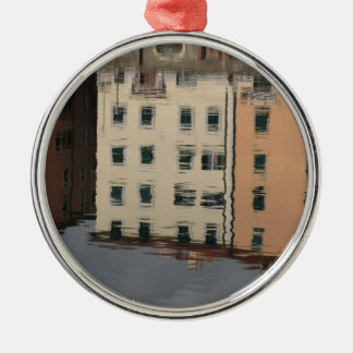 Houses are reflected in the tranquil water Silver-Colored round ornament