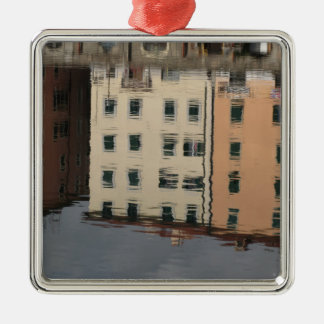 Houses are reflected in the tranquil water Silver-Colored square ornament