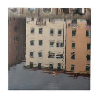 Houses are reflected in the tranquil water tile