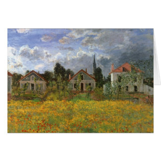 Houses at Argenteuil by Claude Monet, Vintage Art Card