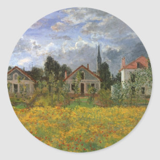 Houses at Argenteuil by Claude Monet, Vintage Art Classic Round Sticker