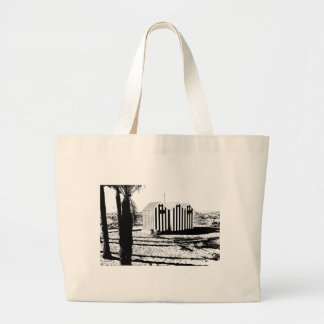 Houses of bath in the beach of Benidorm Large Tote Bag