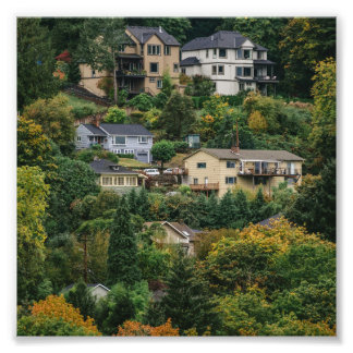 Houses on the hill photo print