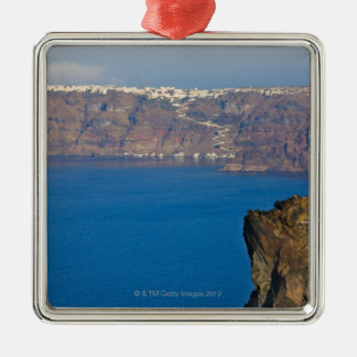 Houses perched on the cliff of Aegean Sea Silver-Colored Square Ornament