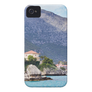 Houses rocks and mountain at greek sea iPhone 4 Case-Mate case