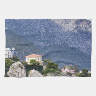 Houses rocks and mountain at greek sea kitchen towel