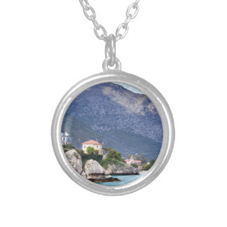 Houses rocks and mountain at greek sea silver plated necklace