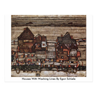 Houses With Washing Lines By Egon Schiele Postcard