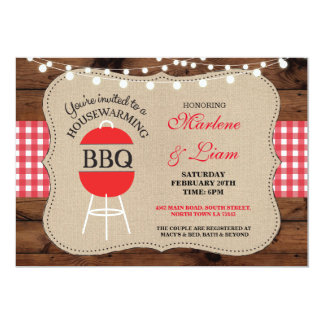 Housewarming BBQ Red Rustic New Home Invitation