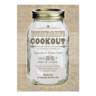 Housewarming Cookout Mason Jar Card